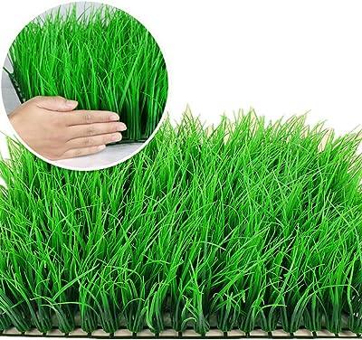 QiHaoHeji Jardin Vertical Artificial Jardín del Patio Trasero De La Pared Telón De Fondo De Madera De Boj Verde UV Artificiales De Interior 12 del Panel Exterior De Boj Plantas Artificiales: Amazon.es: