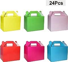 BELLE VOUS Cajas de dulces (paquete 24) - 11 x 14 x 6 cm Seis pequeñas cajas de cumpleaños de colores arcoíris - Cajas de galletas - Cajas de regalo personalizadas para baby shower, fiestas infantiles, manualidades