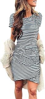 Womens Summer Bodycon Dress Casual Tshirt Dresses Ruched Maternity Dress Mini Short Irregular Hem