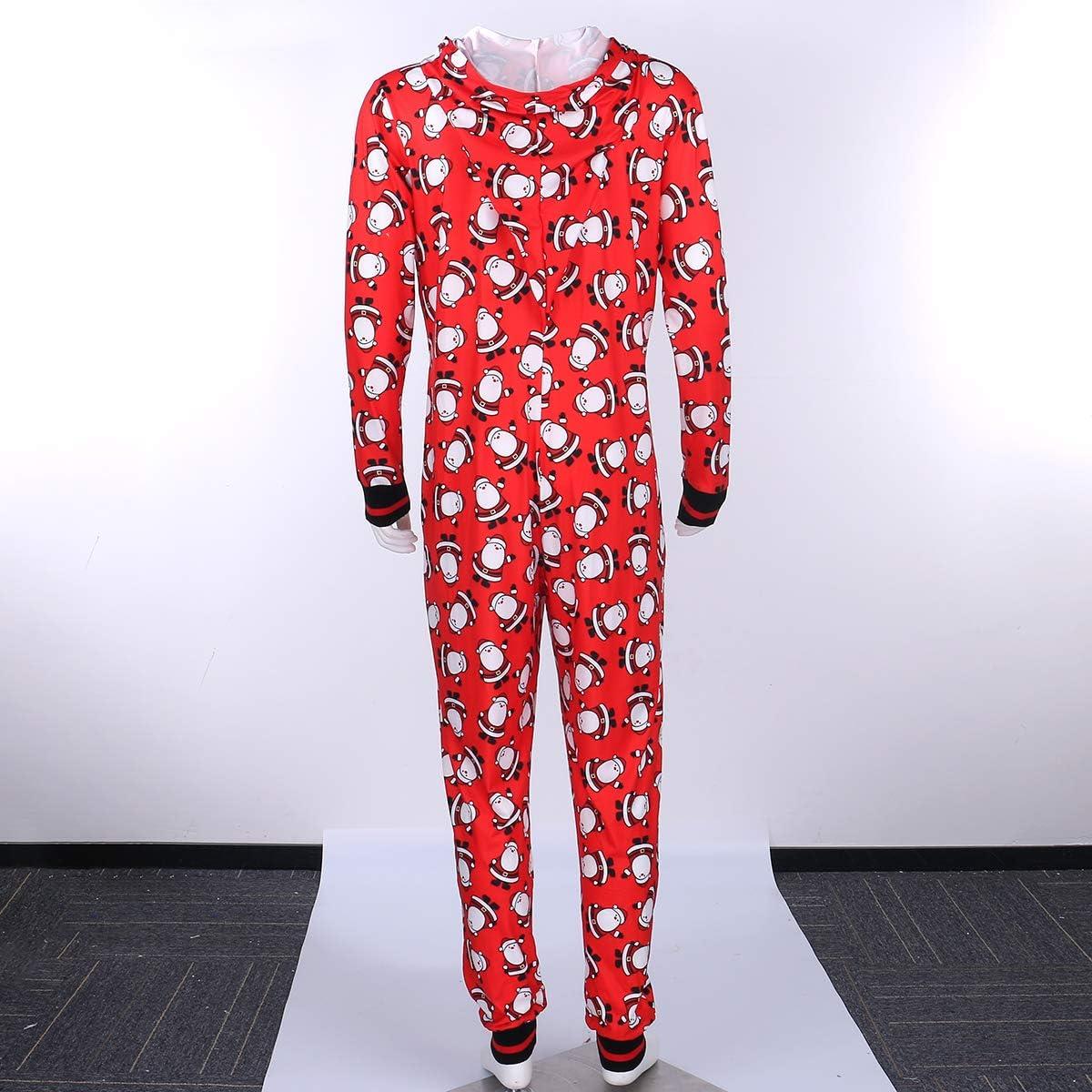 Matching Family Pajamas Set, Christmas Santa Printed Long Sleeve Hooded Romper + Zipper Pants Sleepwear