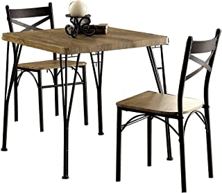 Benzara Industrial Style 3 Piece Dining Table Set of Wood...