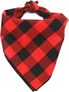 TC5DCS Personalized Square Red and Black Buffalo Plaid Dog Bandana Cotton Flannel Dog Scarf Pet Accessories