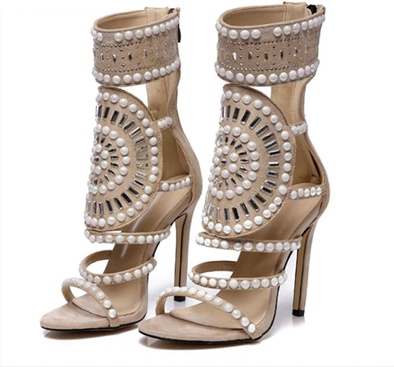 Aneikeh Women Fashion Open Toe Rhinestone Design High Heel Sandals Crystal Ankle Wrap Glitter Diamond Gladiator Sandals Black