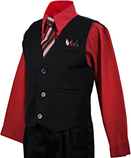 Boys Vest Suits Toddlers Pinstripe Red Shirt Set Size 8