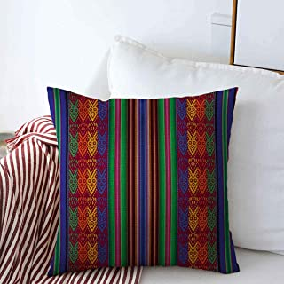 Staroutah Pillow Case Yarn Blue Inca Bolivian Indigenous Pattern Peruvian Ecuador Peru Latin Farmhouse Decorative Throw Pillows Covers 18
