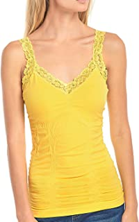 Women's Seamless Wrinkled Lace Trim Camisole Tank Top