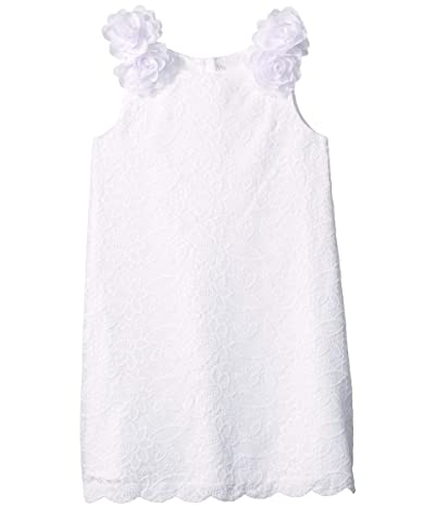 Janie and Jack 3D Flower Lace Dress (Toddler/Little Kids/Big Kids) (White Lace) Girl