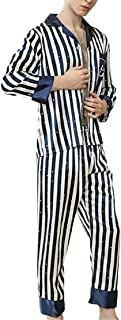 HX fashion Men's Pajamas Spring Autumn Stripe Nightwear Men Long Sleeve Comfortable Sizes Lapel Comfortable Soft Loose Vin...