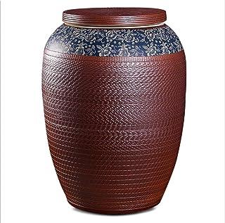 Pots et bocaux de conservation Cylindre De Riz En Céramique Cylindre De Farine De Cuisine Grand Tonneau De Riz Réservoir D...