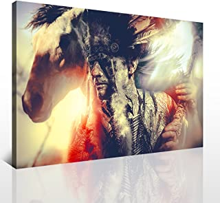 YOOOAHU 1 Piece American Indian Warrior Man with Feather Headdress Tomahawk Horse Gray Wall Art Painting Abstract Picture Print On Canvas for Home Decor Framed for Living Room Ready to Hang -24