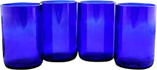 Tumblers Drinking Glasses Made From Recycled Wine Bottles 12 Oz - set of 4 (Blue Cobalt, 12 Oz)