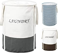 ZERO JET LAG 19 in Collapsible Laundry Hamper with Handles Drawstring Round Cotton Basket Kids Nursery Hamper Storage(Grey)