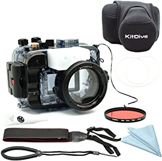 for Sony A6500 A6400 A6300 A6000 [ILCE-6500/6400/6300/6000] 195FT/60M Underwater Camera Diving Waterproof housing(Housing + Cover + Red Filter)