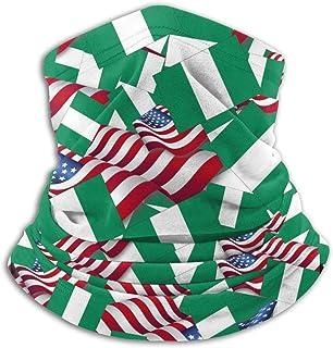 JFK BORN Nigeria Flag with America Flag Unisex Seamless Bandana Neck Gaiter Tube Mask Headwear, Motorcycle Face Mask for Women Men Face Scarf