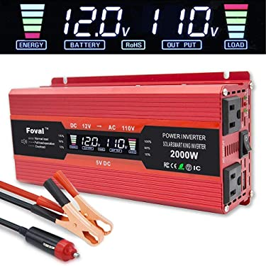 LVYUAN Power Inverter 1000W/2000W Dual AC Outlets and Dual USB Charging Ports DC to AC Inverter 12V to 110V Car Converter DC 12V Inverter with Digital LCD Display (Red-1000W)