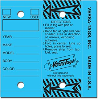 BLUE - Genuine Versa-Tag Key Tags, Self-Protecting (250 tags per box with metal rings)
