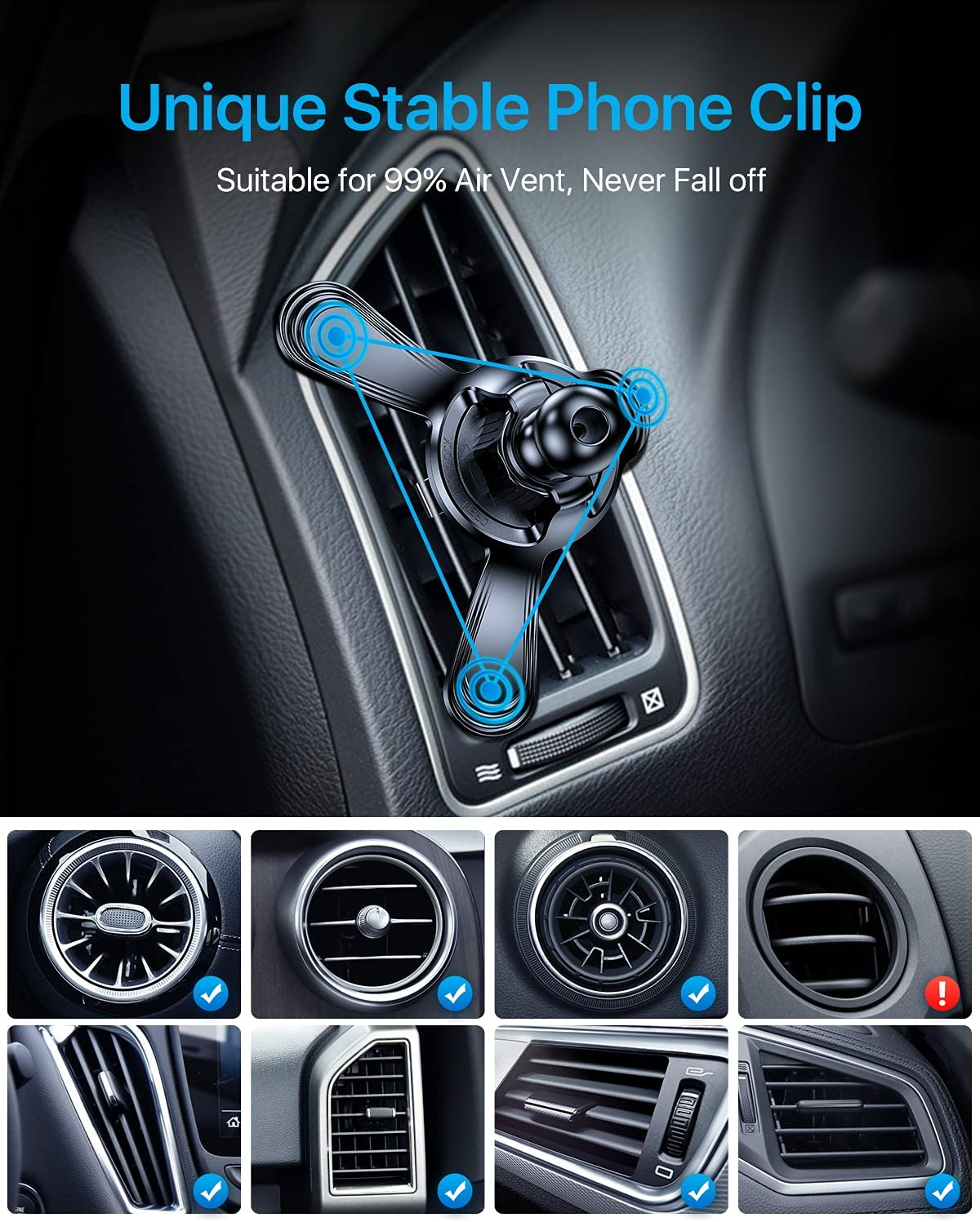 Andobil smartphone air-vent clip ford edge holder