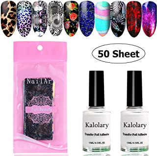 Kalolary 50 Sheet Starry Sky Star Foil Stickers Set with Nail Art Foil Glue, Holographic Nail Art Transfer Stickers DIY Decoration, UV LED Lamp Required(Random Color)