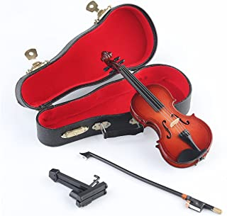Seawoo Wooden Miniature Violin with Stand,Bow and Case Mini Musical Instrument Miniature Dollhouse Model Home Decoration (5.63