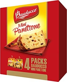 Bauducco Mini Panettone / Chocottone - Traditional Italian Holiday Cake - Moist & Fresh Specialty Cakes with Sun-Maid Raisins & Hershey's Chocolate Chips - 4 Pack 14.1 Oz