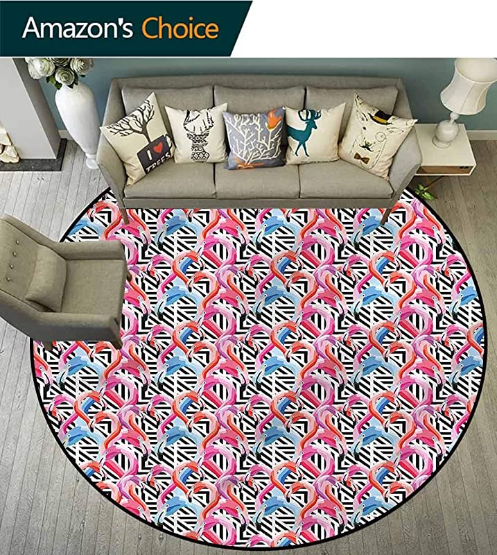 RUGSMAT Flamingo Area Silky Smooth Rugs Watercolor Geometrical Protect Floors While Securing Rug Making Vacuuming Diameter 71