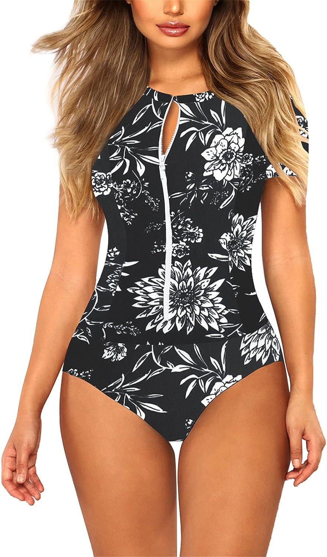 COCOLEGGINGS Womens Floral Print Zip Rash Guard One Piece Swimsuit Bathing Suit