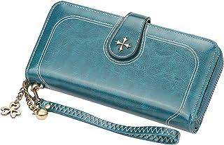 محافظ للنساء متعددة الوظائف ذات سعة كبيرة محفظة طويلة من جلد البولي يوريثان لحمل البطاقات محفظة يد منظمة (أزرق)