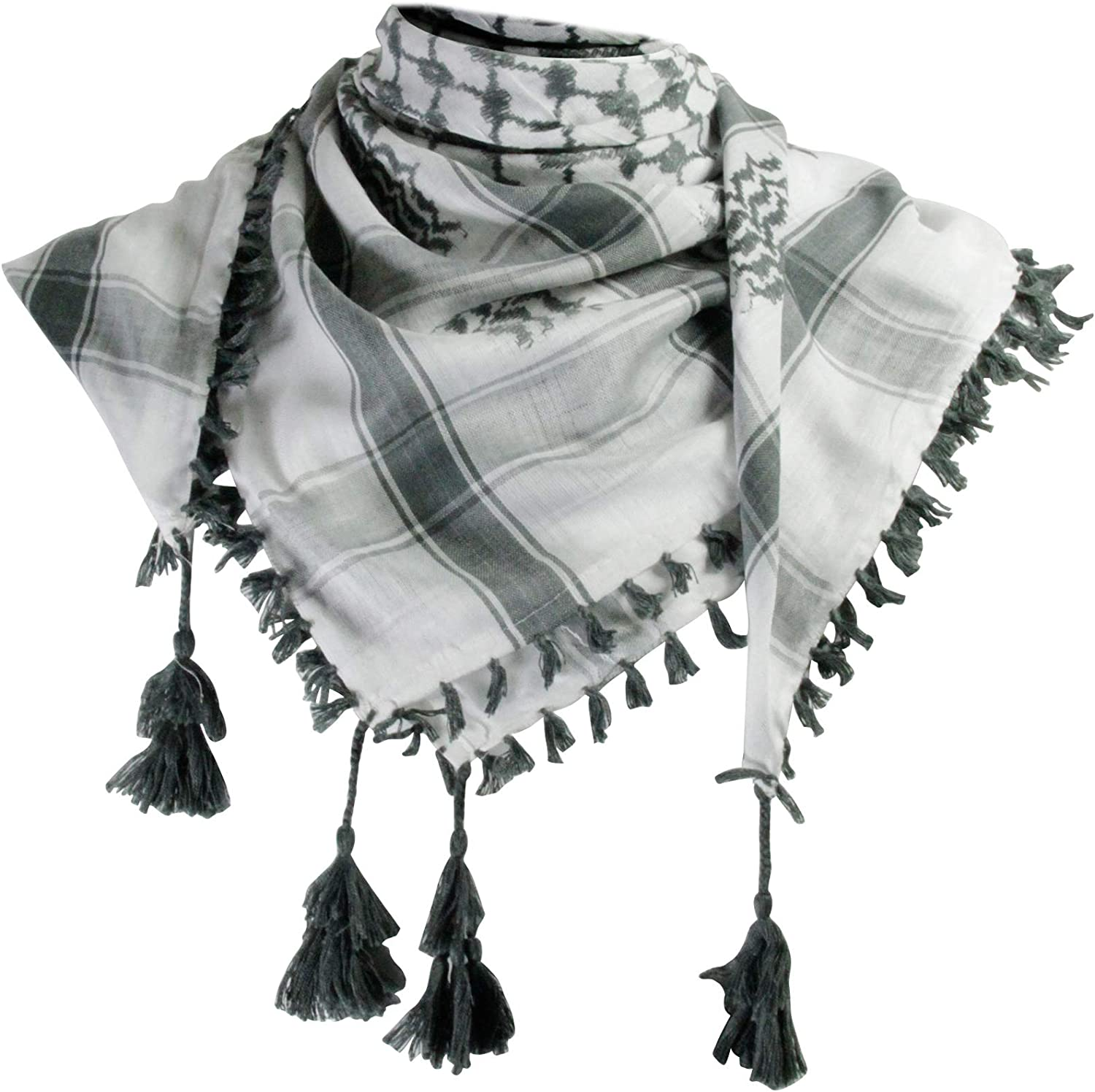 White and Gray Shemagh Tactical Desert Scarf Keffiyeh with Tassels