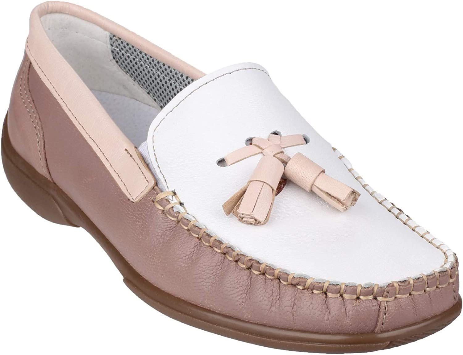 Cotswold Womens Biddlestone Slip On Loafer shoes White Beige Tan Size UK 8 EU 42