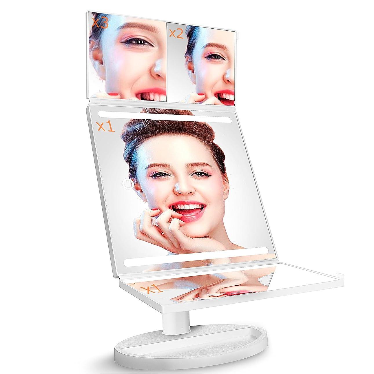 一般化するコンパイルフェミニン化粧鏡 化粧ミラーLightingWill 360°回転 鏡 ブライトミラー 三面鏡 女優ミラー 卓上 led付き 折りたたみ 拡大鏡 2&3倍 明るさ調節可能 電池&USB 2WAY給電(2018新しい設計)