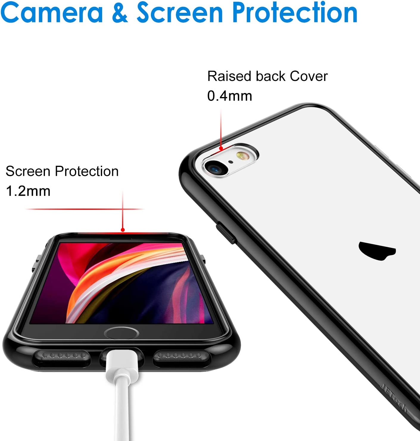 JETech Case for iPhone SE 2020 2nd Generation, iPhone 8 and iPhone 7, 4.7-Inch, Shockproof Bumper Cover, Anti-Scratch Clear Back, Black