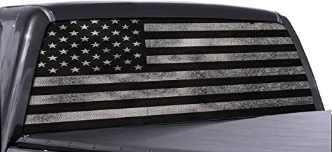 FGD Brand Truck Rear Window Wrap Black & White Distressed American Flag Perforated Vinyl Decal