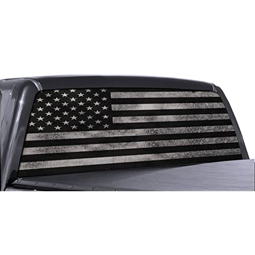 f1a4a535d3 FGD Brand Truck Rear Window Wrap Black   White Distressed American Flag  Perforated Vinyl Decal
