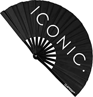 ClapFan Rave Fan, Large Bamboo Loud Clack Folding Hand Fan for EDM, Music Festival, Club, Event, Party, Dance, Performance, Iconic, for Men/Women, 13 inch (Black)