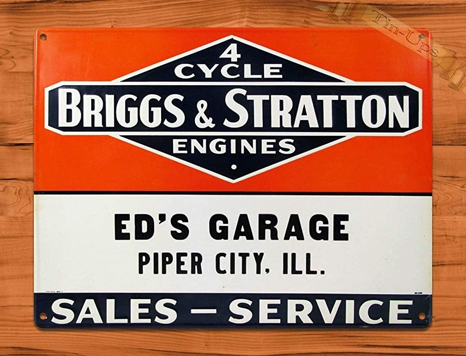 MMNGT Tin Sign Briggs and Stratton Ed39;s Garage Rustic Engine Repair Wall Decor TIN Sign 7.8X11.8 INCH