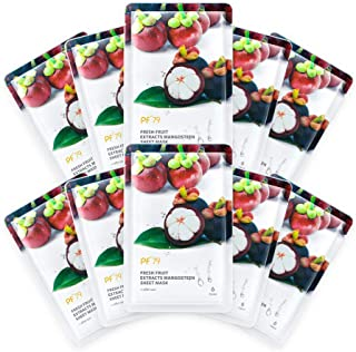 PF 79 Hydrating Face Mask - Mangosteen Essence After Sun Repair Moisturizing Facial Sheet Masks for Oily & Dry Skin, Pack of 10