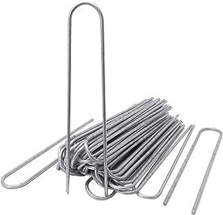 ToCi - Anclajes para Suelo (50 Unidades, 200 x 25 mm, galvanizados, Alambre de Acero, diámetro de 3,8 mm, para fijación de Fieltro para Malas Hierbas, láminas, mangueras en Suelos Duros)