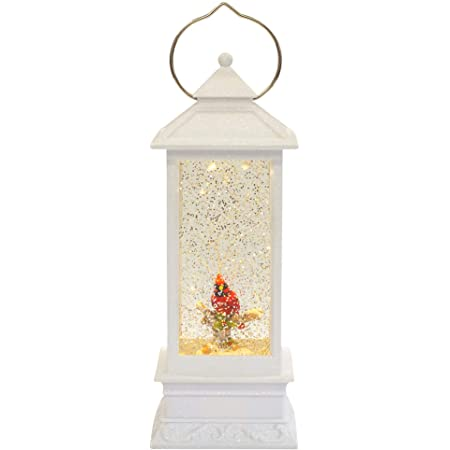 Roman White Lighted With Red Cardinal LED Lantern 11 Inch Acrylic Decorative Tabletop Snow Globe