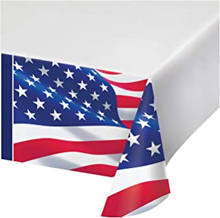 """Creative Converting American Flag Paper Tablecloth, 54"""" x 102"""", Red, White and Blue"""