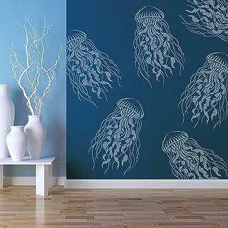 Large Jellyfish Wall Stencil - Reusable Stencils for Walls - DIY Home Decor - Trendy Easy DIY Wall Decor - by Cutting Edge Stencils (Medium)
