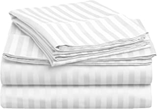 Superior 400 Thread Count 100% Premium Combed Cotton, 4-Piece Bed Sheet and Pillowcase Cover Set, Stripe, King - White