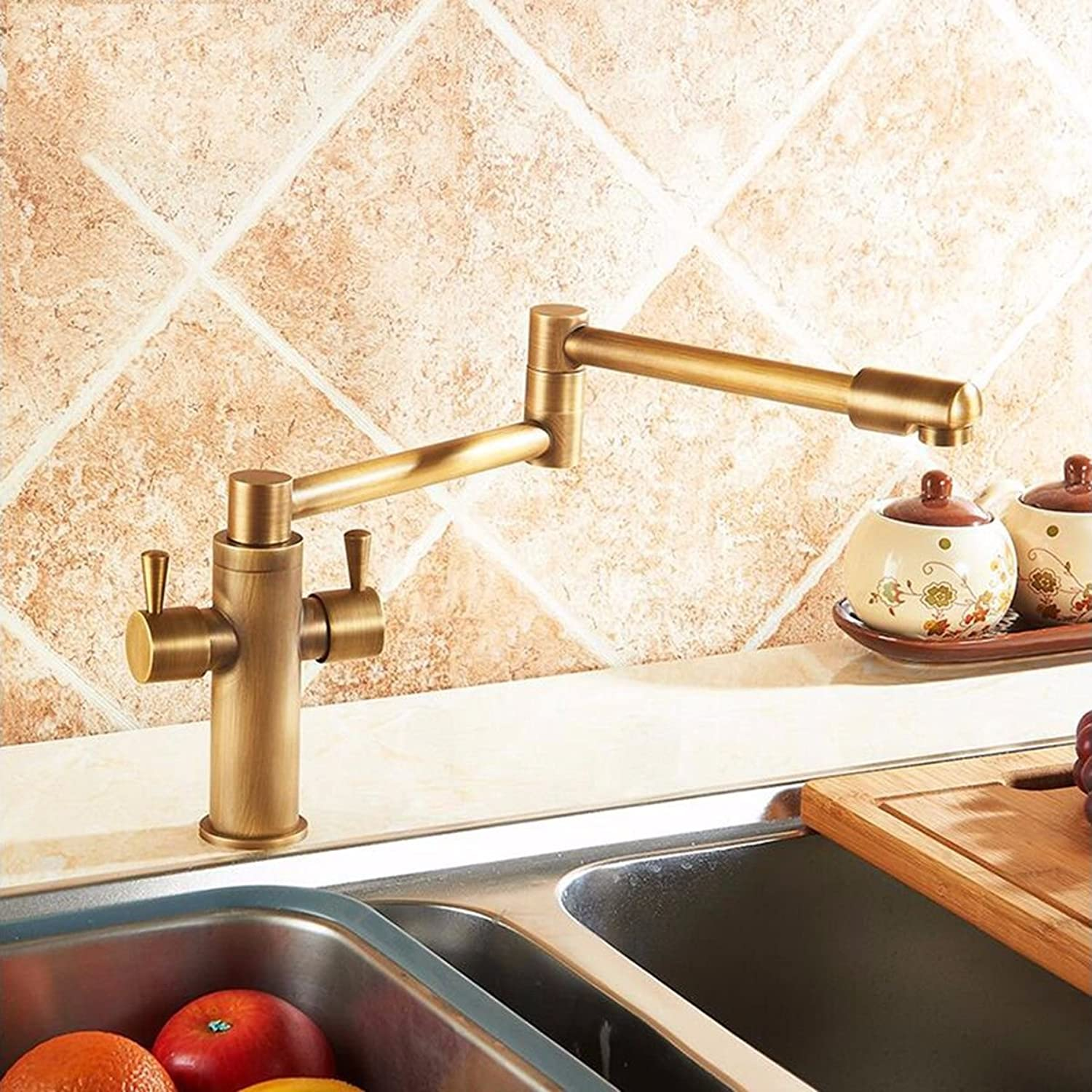 Lpophy Bathroom Bathroom Bathroom Sink Mixer Taps Faucet Bath Waterfall Cold and Hot Water Tap for Washroom Bathroom and Kitchen Antique Copper Folding Telescopic Hot and Cold 360 redation 1a1c39