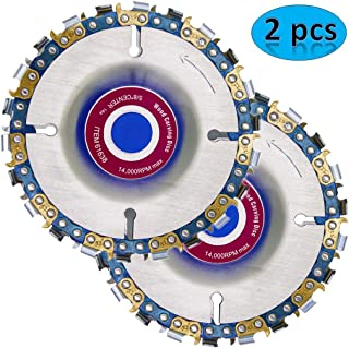 Wood Carving Disc,4 Inch Angle Grinder Chain Disc Double Saw Teeth Anti-kickback Wood carving Saw Blade for 100/115 Angle Grinder,22 Teeth, 5/8