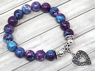 Braccialetto di perle di giada per donna tinto di viola e blu con pendente in filigrana a forma di cuore