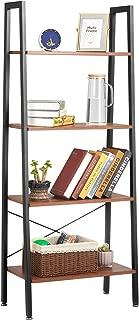 Ladder Shelf Kealive Industrial 4-Tier Bookshelf Storage Rack Shelves, Wood Look Furniture of Metal Frame, Greater Capacity and Space Saving for Bathroom Living Room, Rustic Brown, 24 x 14 x 59 In