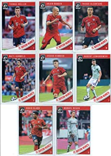 2019 Donruss Optic Soccer FC Bayern Munich Veteran Team Set of 8 Cards: Robert Lewandowski(#17), Thomas Muller(#18), Arjen Robben(#19), Thiago Alcantara(#20), Joshua Kimmich(#21), Mats Hummels(#22), David Alaba(#23), Manuel Neuer(#24)