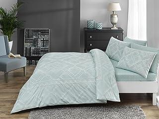 Zorluteks TAC - Juego de funda de edredón y sábanas de lujo, diseño europeo de CELIA (incluye sábana bajera), color verde menta, algodón