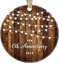 6th Anniversary Gifts Dated 2019 Sixth Anniversary Married Christmas Ornament for Couple Mr & Mrs Rustic Xmas Farmhouse Collectible Present 3