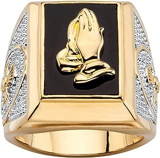 Seta Jewelry Men's 14K Yellow Gold Plated Rectangular Shaped Natural Black Onyx Praying Hands Ring
