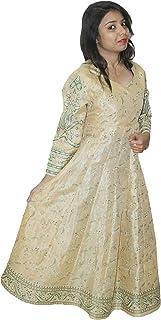 Lakkar haveli Indian Cotton Silk Mix Floral Print Dress Golden Color Women Fashion Long Plus Size